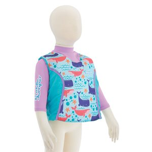 Stearns 2-IN-1 Vest & Rashguard Whale (UPF 50 +Sun Protection)