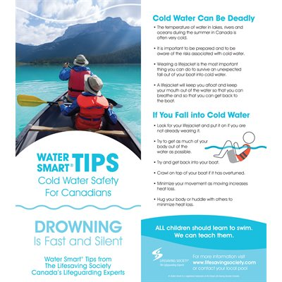 Water Smart Tip Card / Cold Water Safety - Eng- Pkg-100