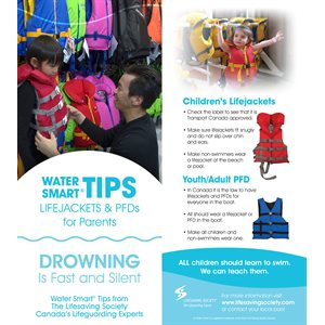 Water Smart Tip Card / Lifejackets & PFD's - Traditional Chinese - Pkg -100